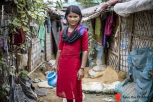A girl near her home in Cox's Bazar, Bangladesh