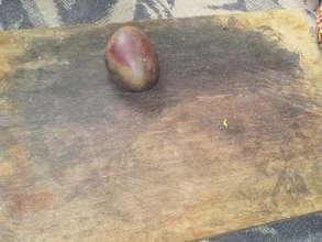 Platform where dyed leather is shaped with a stone