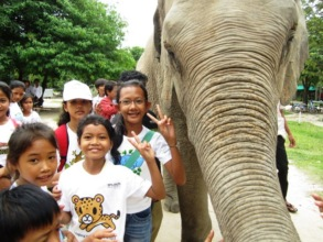 Students meet an elephant on a field trip to PTWRC