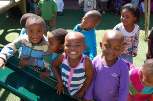 Kids at a completed Early Childhood Centre