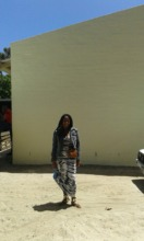 Carmen outside pool building