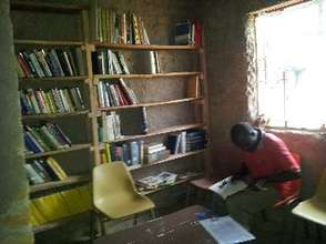 A community member using the library