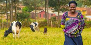 Alice on her farm in Uganda