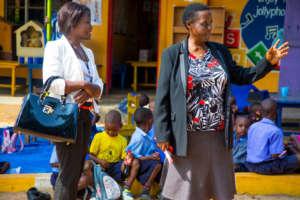 Joyce at the Batanda Junior School.