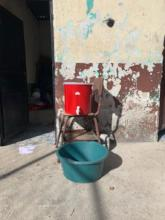 Temporary handwashing station at the lower school