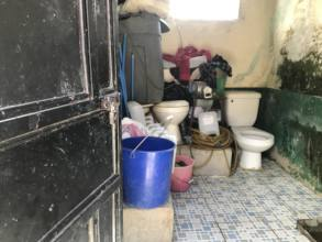 This non-functional bathroom is used for storage