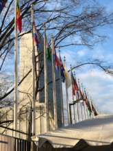 UN Building with flags NYC