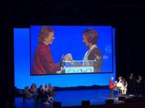 Laura receiving Mary Robinson Award