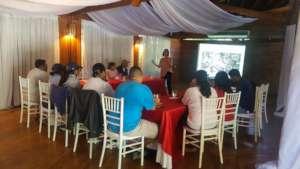 Monica delivering a workshop in Roatan