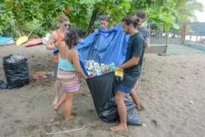 Picking up all that trash that tides bring us.