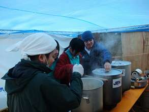 Soup Kitchen at a school in Sendai City