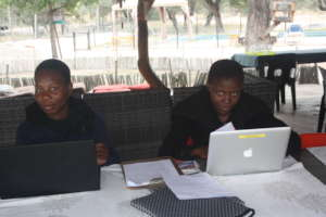 Two students working