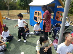Raag is enjoying the playground with his friends