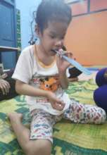Rosy in music class goes on