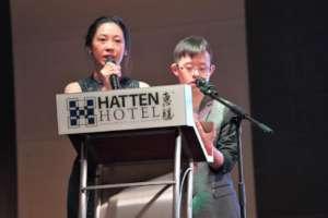 Our Alumni, Kim Peng, co-mc with Teacher Crystal