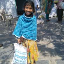 Happy to receive food ration