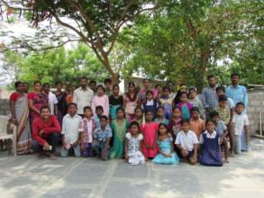 Children, parents and Mr. Pratip,  CPI colony