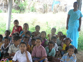 Some of the children and teacher in Dasaripalem