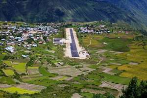 Newly blacktopped airstrip in Simikot! Luxury!