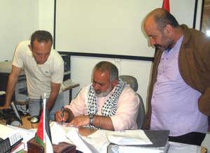 Mayor Haj Sami Sadeq and the signatories