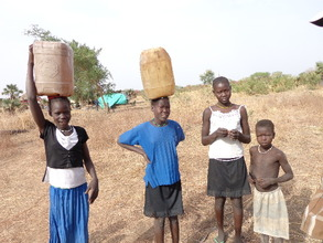 Girls gathering water