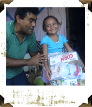 Child receiving much-need food items