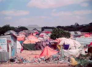 An IDP camp in Kaxda District, Mogadishu