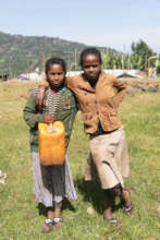 Children walk for miles to collect clean water