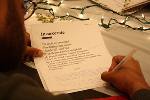 FM volunteers commented on poetry at Write Night