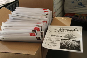 The Connect newsletter ready to be mailed