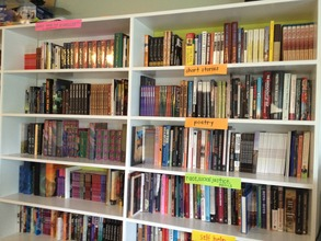 Our bookshelf full of books for FM members!