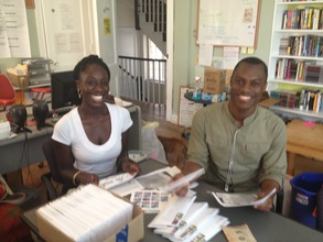 Free Minds summer interns mail out the newsletter