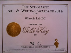 """Muquan's """"Gold Key"""" certificate from Scholastic"""