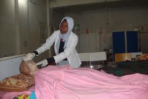 Nursing student at work