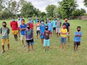 Children during morning exercise