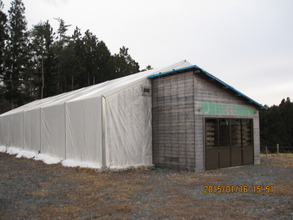 The shop tent finally donated to the land owner