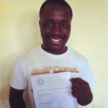 EIM student Richardson with his exam certificate