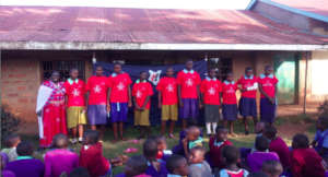 Participants receiving t-shirts
