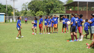 Coach Lisbeth of FSF leads a drill in Pearl Lagoon