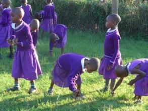 Girls Playing At School