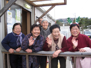 Residents at temporary housing in Yamamoto-cho
