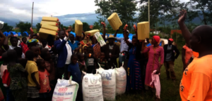 Food, soap, jerrycans and bins all received