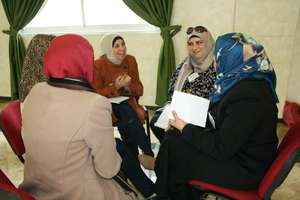 Small group discussion during the training