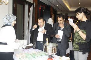 Entrepreneur Ghada offers samples of her mushrooms