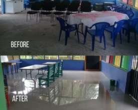 The new floor in the community centre