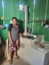 Woman with her new fuel-efficient stove