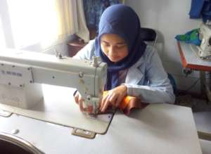 Amalia in Sewing class room