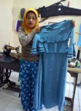 Bibah with her creation