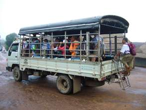 School bus taking refugee children to school