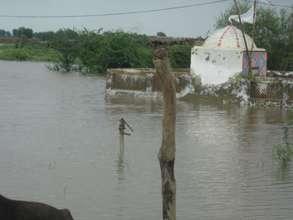 Installed Hand Pump under flood water..